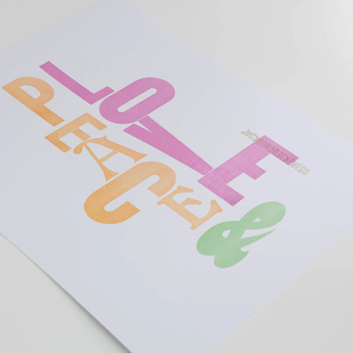 peace and love - letterpress poster 11x14