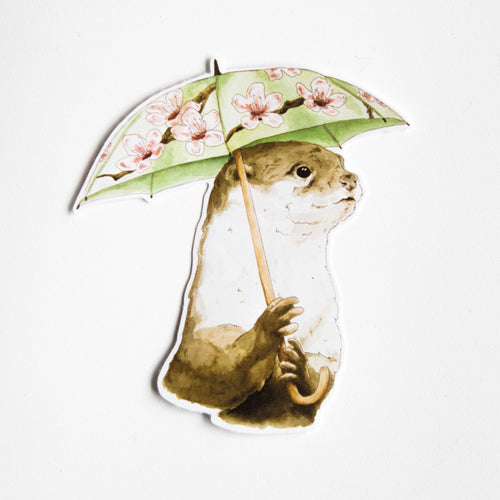 otter with umbrella vinyl sticker