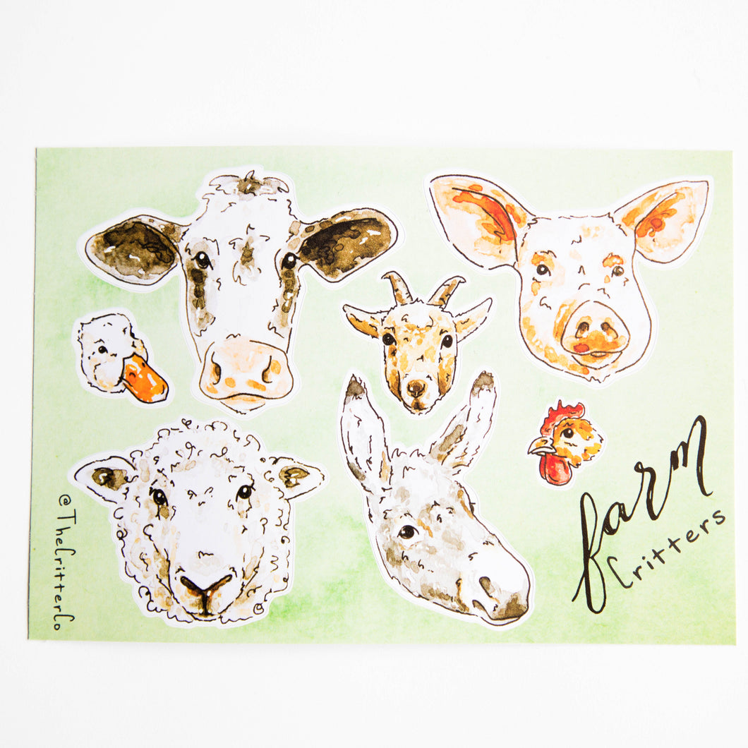 farm critters vinyl sticker sheet