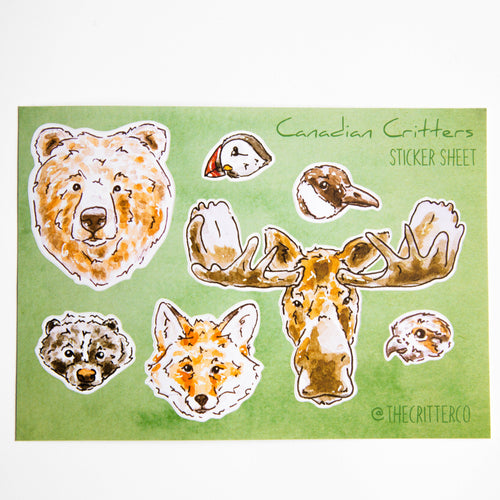 Canadian critters vinyl sticker sheet