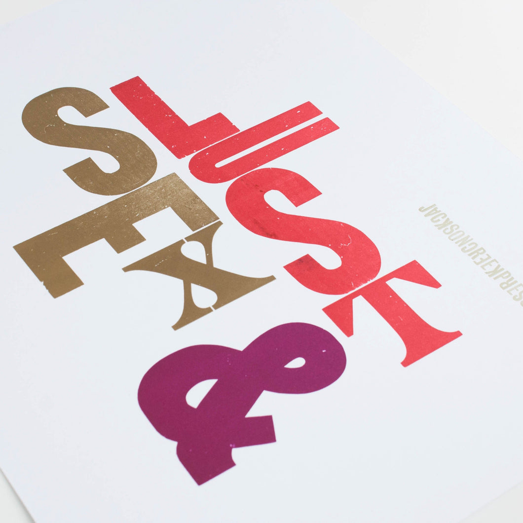 sex and lust - letterpress poster 11x14