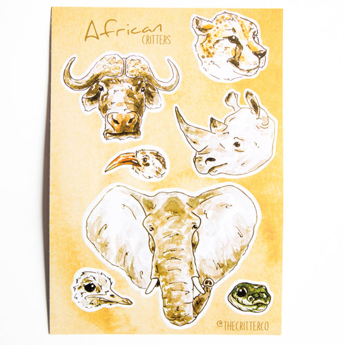 African critters vinyl sticker sheet