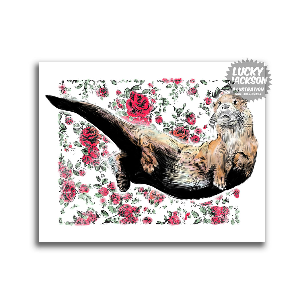 otter with red roses 8x10 print
