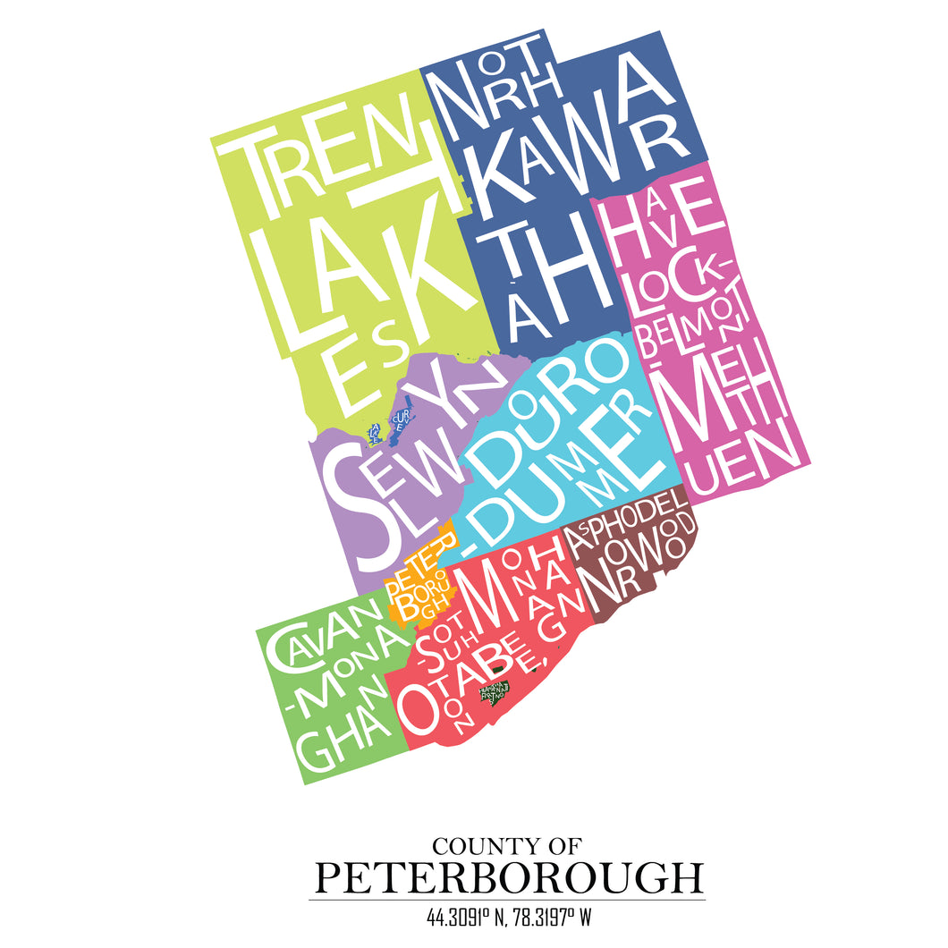 limited edition - Peterborough County word jumble map 8.5x11