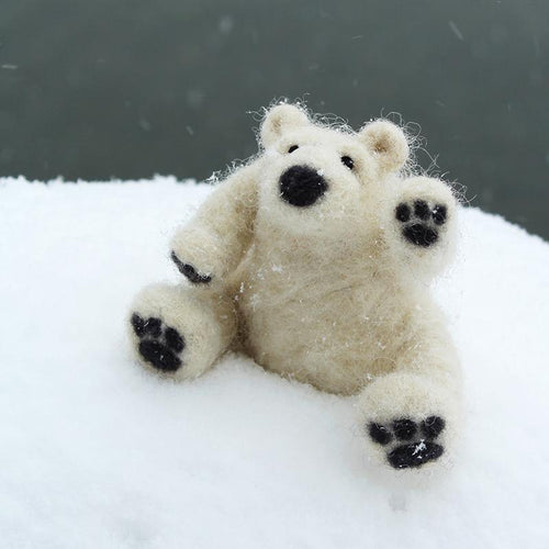 DIY needle felting kit: polar bear cub