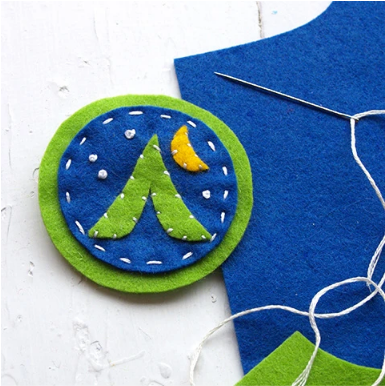 camp badge DIY felt camp sewing kit