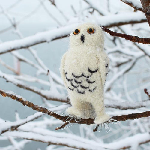 DIY needle felting kit: snowy owl