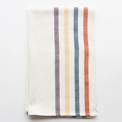 handwoven cotton tea towel - red, blue, yellow & purple stripes