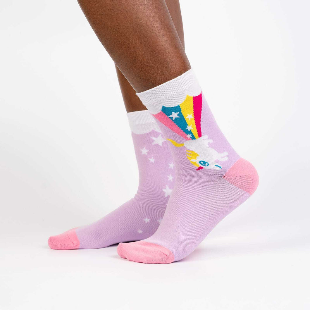 SALE - women's crew socks - rainbow blast