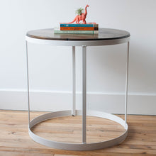 SALE metal & pine side table