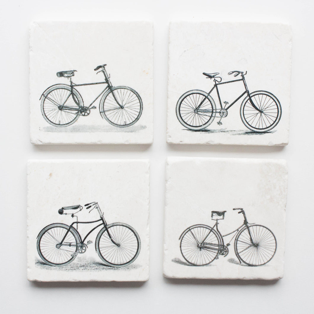 set of 4 coasters - bicycle coasters