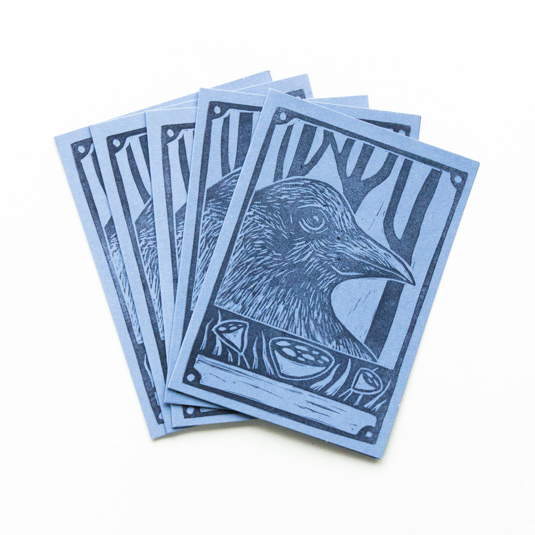 raven linocut greeting cards - pack of 5