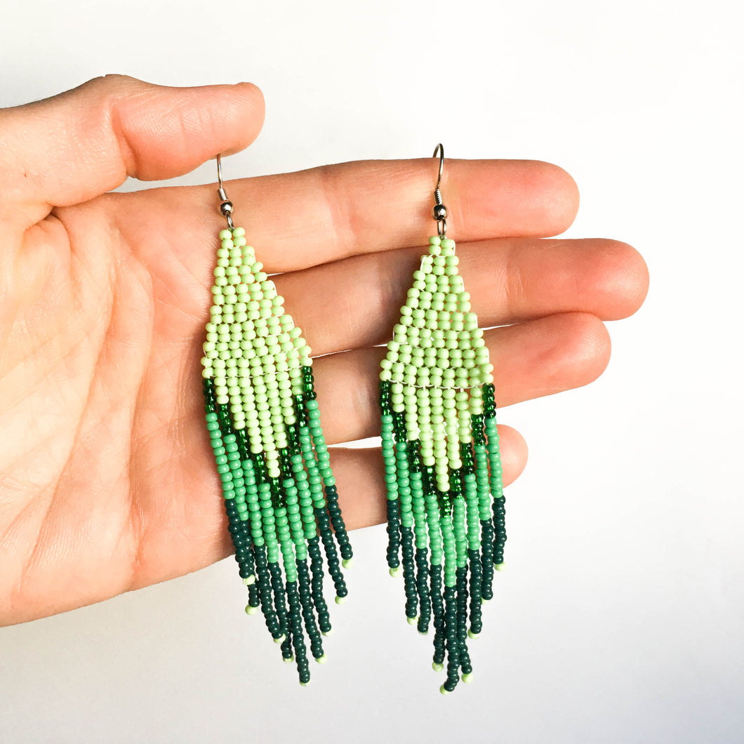 green monochrome beaded earrings
