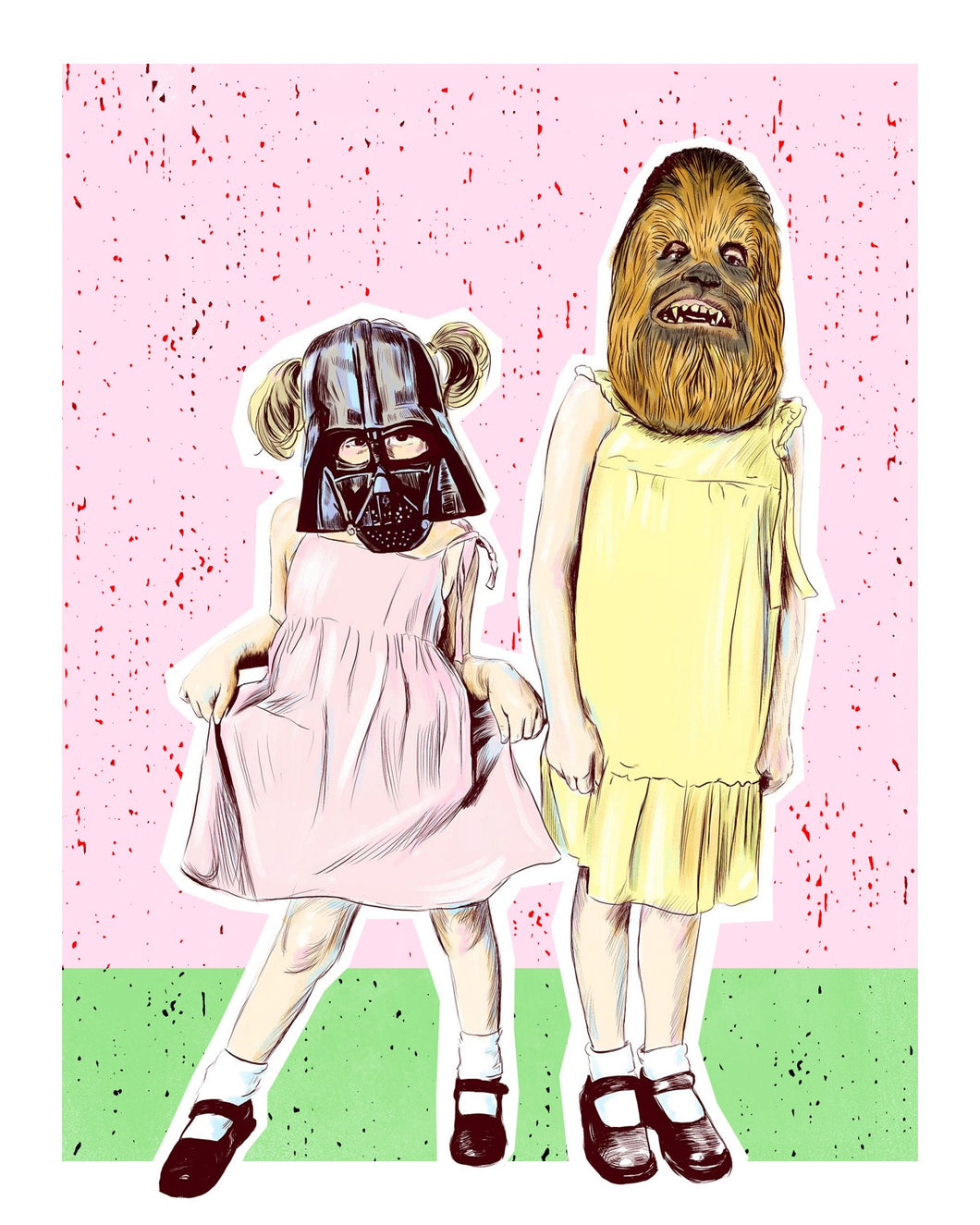 vader and chewie star wars print