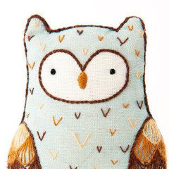 DIY embroidered doll kit: horned owl