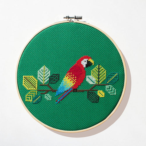 red parrot cross stitch kit