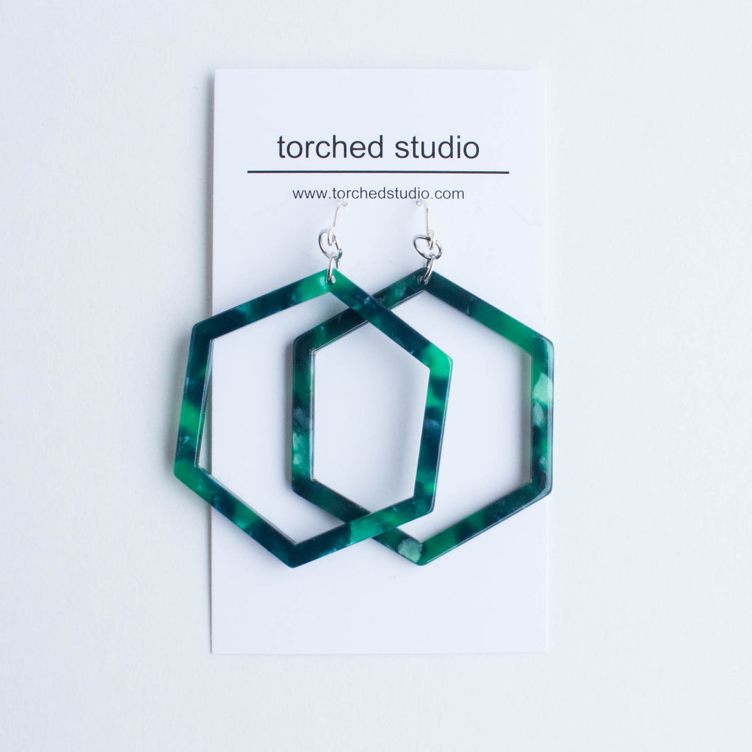 cellulose acetate hexagon earrings - more colours