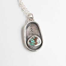turquoise (with brown) pine tree necklace