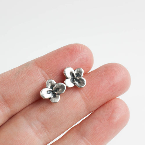 recycled silver flower studs