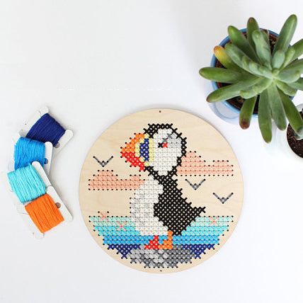 DIY wood disk cross stitch kit: puffin by the sea