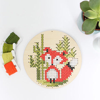 DIY wood disk cross stitch kit: red fox in the desert