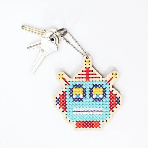 SALE - keychain and backpacker cross stitch kit: robot robby