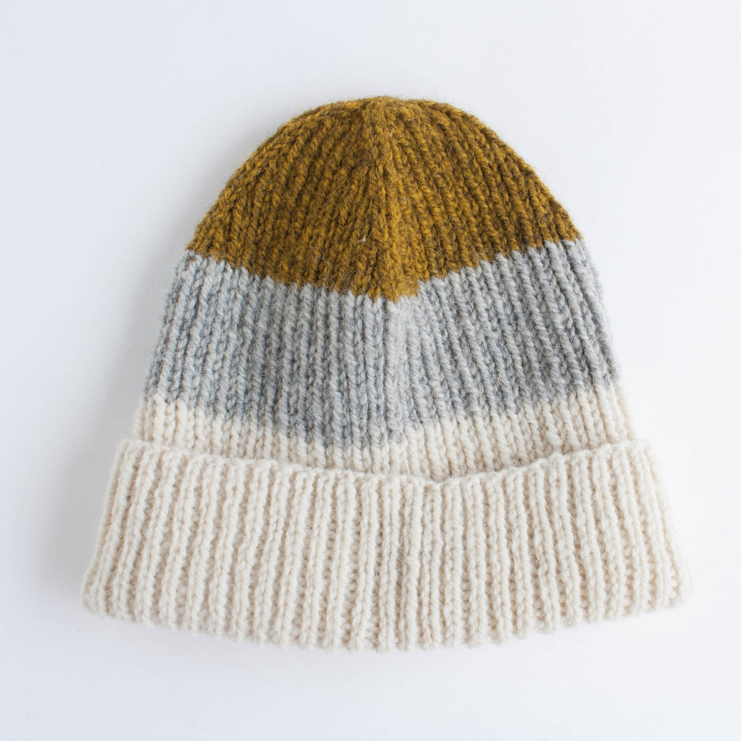 knitted hat - mustard, grey and cream