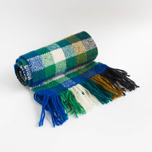 handwoven scarf - green and blue plaid