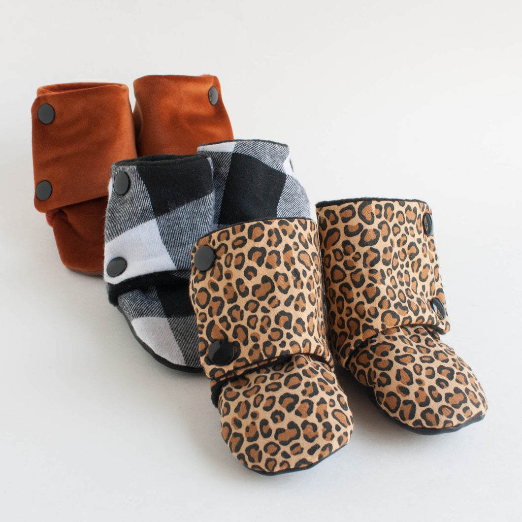 stay-on booties - leopard print