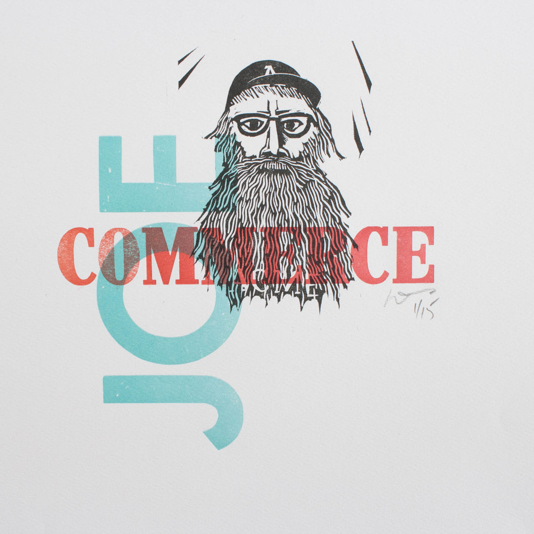 Joe commerce - letterpress poster 12.5 x 9.5
