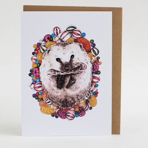 holiday hedgehog card