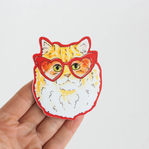 cat with heart glasses sticker