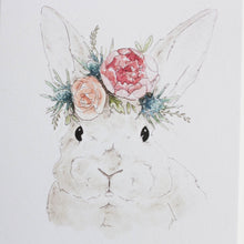 grey bunny with flower crown greeting card