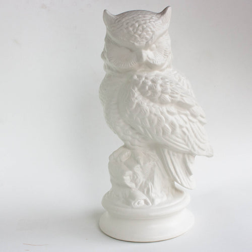 decorative white ceramic owl