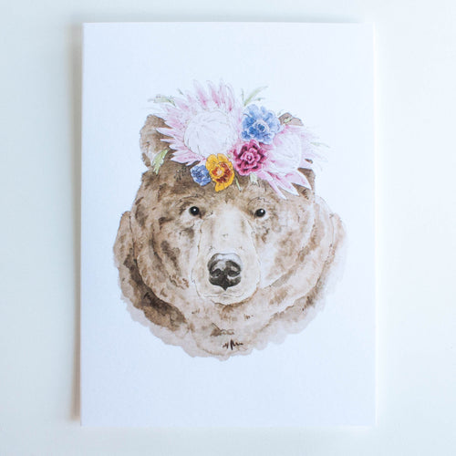 bear with flower crown card