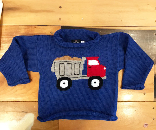 Kids/Toddler Blue Roll Neck Sweater with Dump Truck