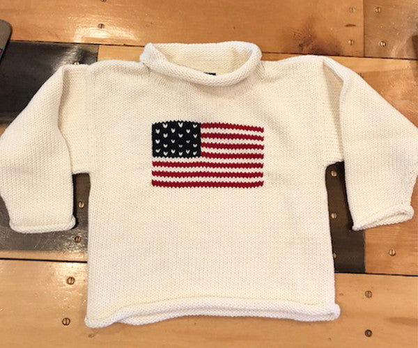 Kids American Flag Roll Neck Sweater