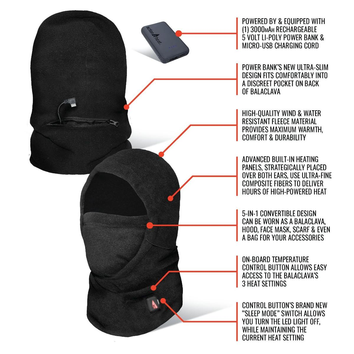 ActionHeat 5V Battery Heated Fleece Balaclava - Right