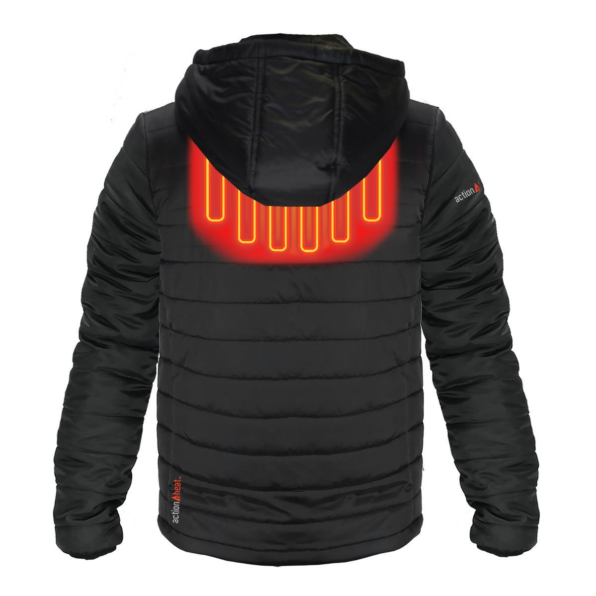 Open Box ActionHeat 5V Battery Heated Insulated Puffer Jacket W/ Hood - Men's - Back