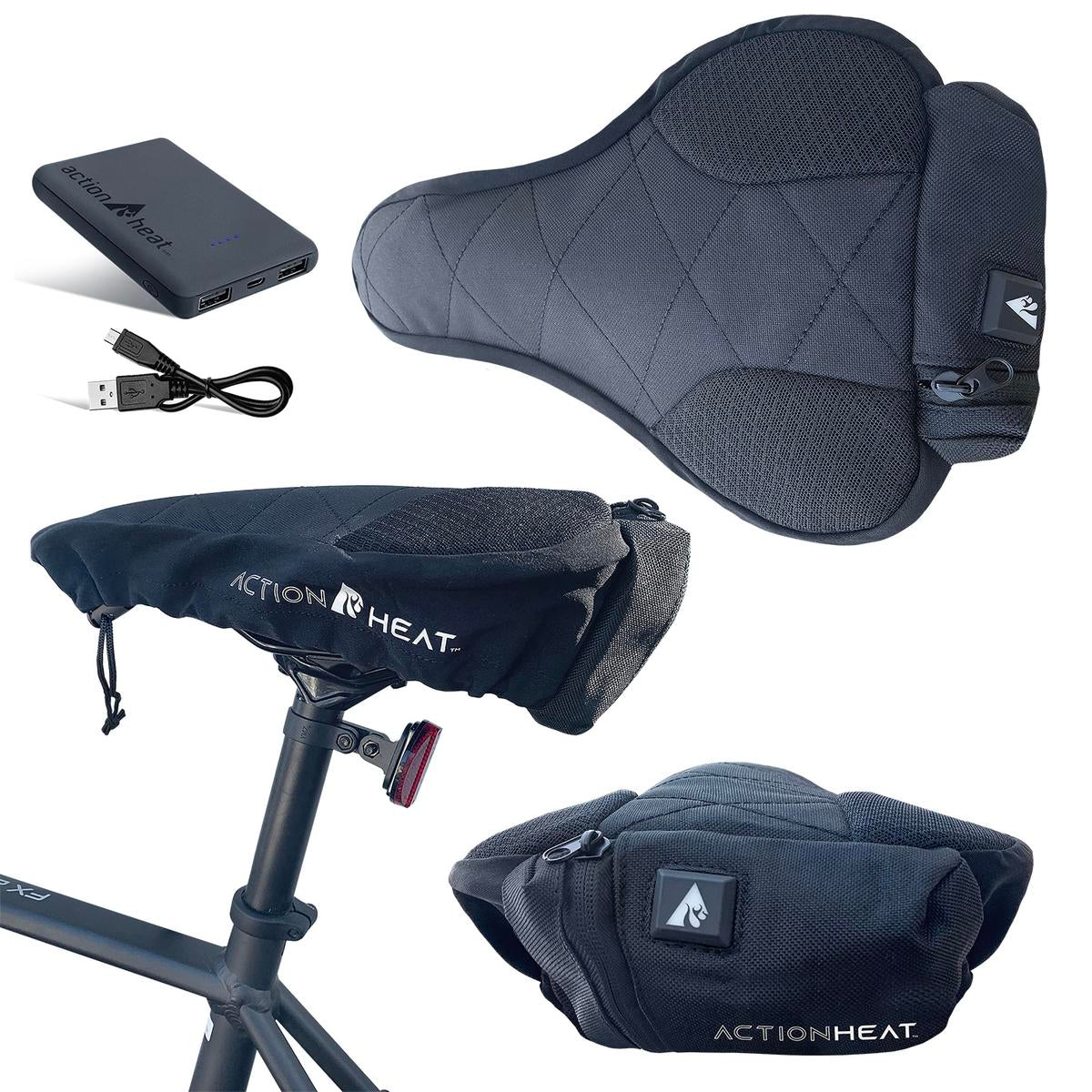 ActionHeat 5V Battery Heated Bicycle Seat - Full Set