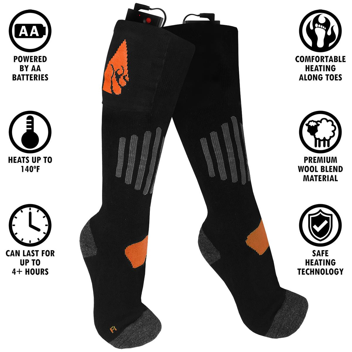 ActionHeat Wool AA Battery Heated Socks - Replacement Socks Only - Front