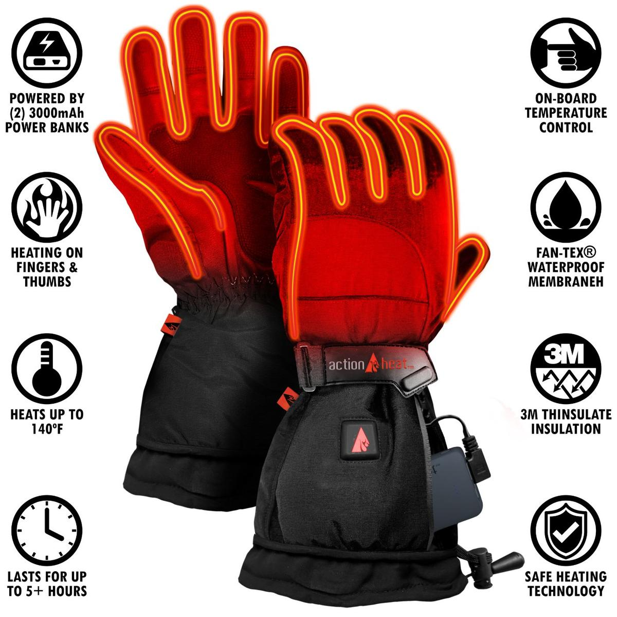 ActionHeat 5V Battery Heated Snow Gloves - Women's - Info