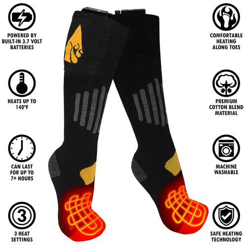 ActionHeat 3.7V Rechargeable Battery Heated Socks - Cotton - Info