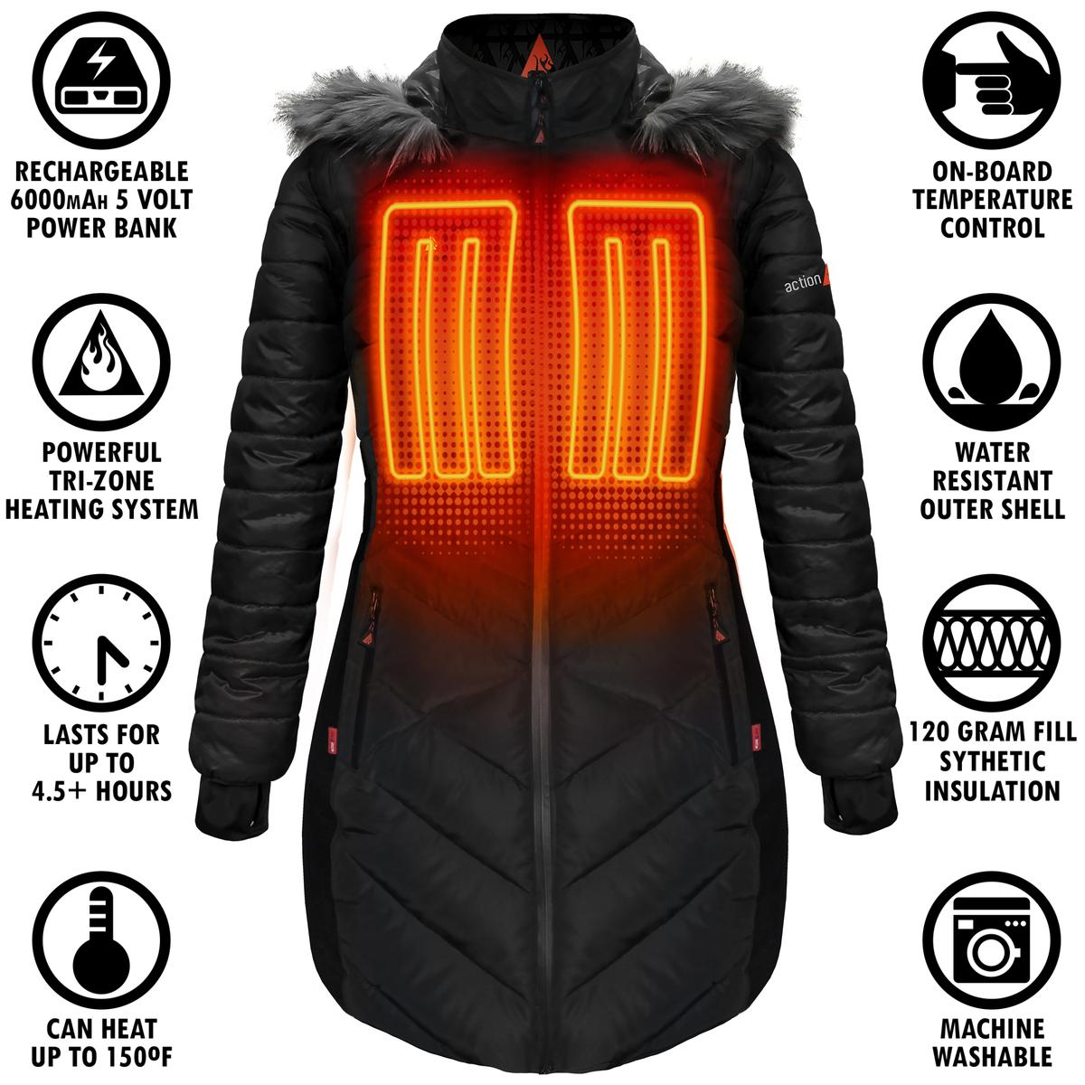 ActionHeat 5V Heated Long Puffer Jacket W/ Hood - Women's - Info