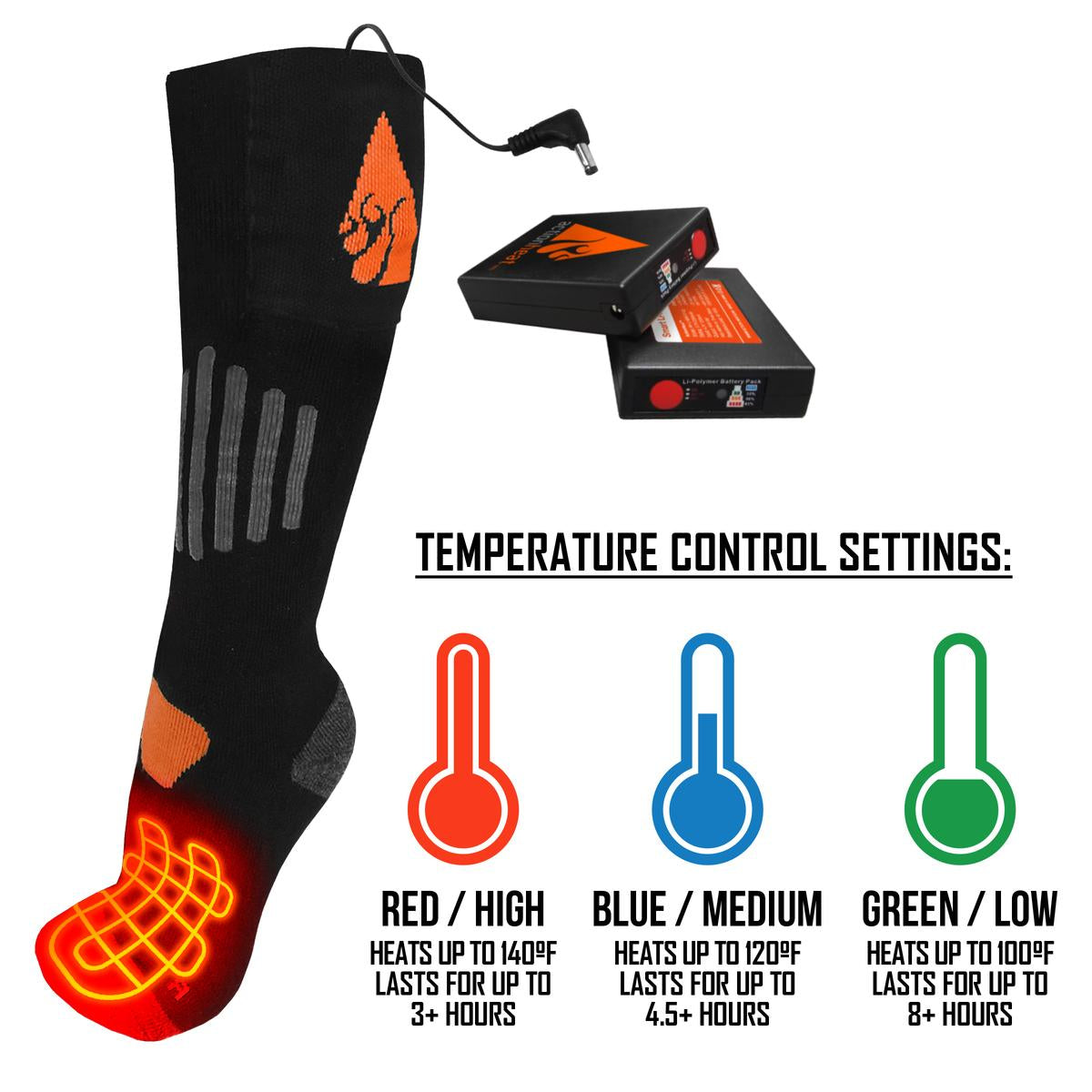 ActionHeat 3.7V Rechargeable Battery Heated Socks - Wool - Size