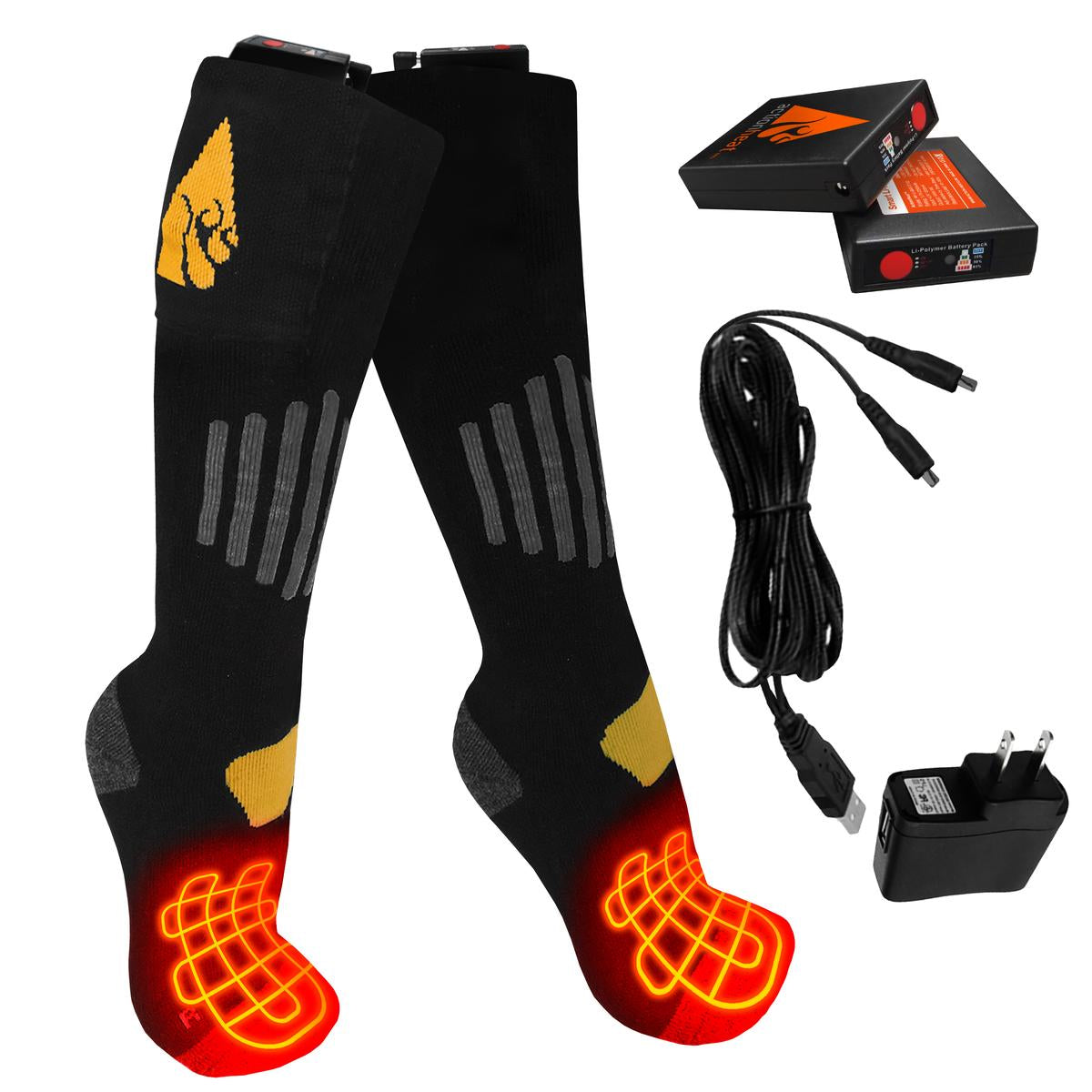 ActionHeat 3.7V Rechargeable Battery Heated Socks - Cotton - Full Set