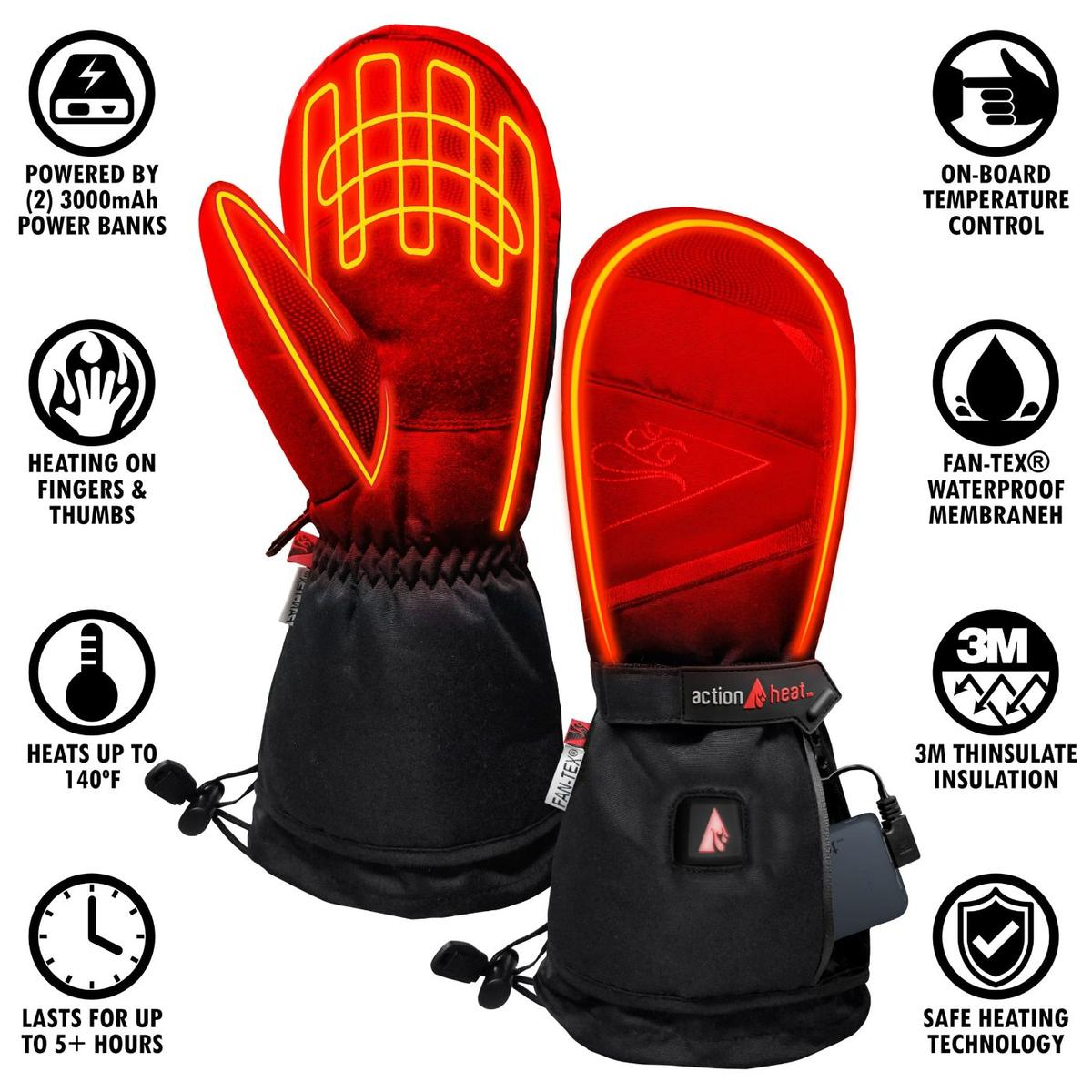 ActionHeat 5V Battery Heated Mittens - Info