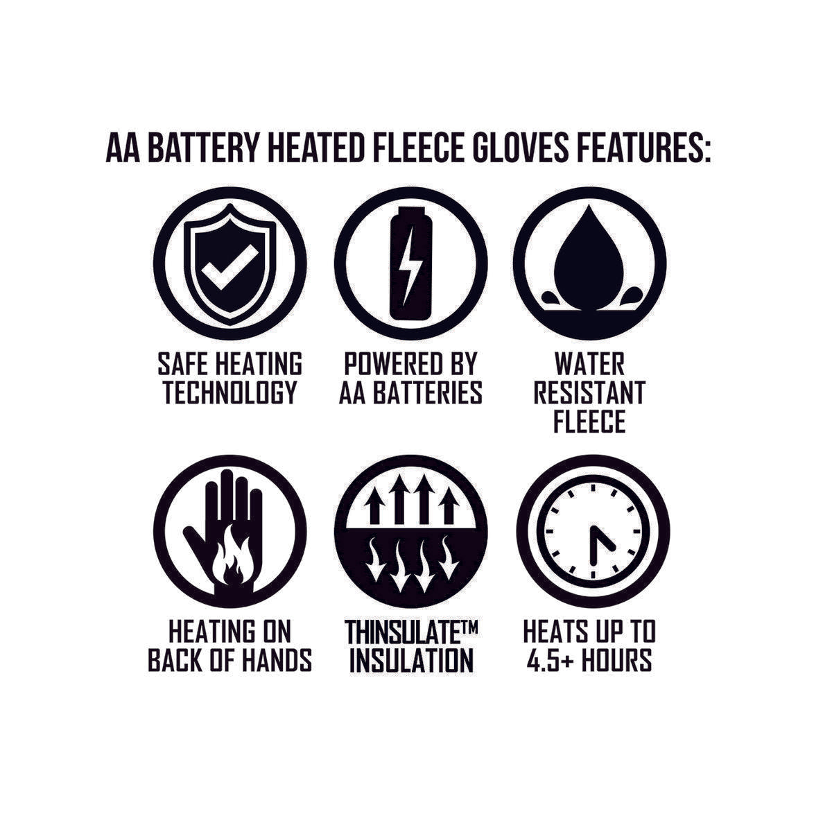Open Box ActionHeat AA Battery Heated Fleece Gloves - Battery