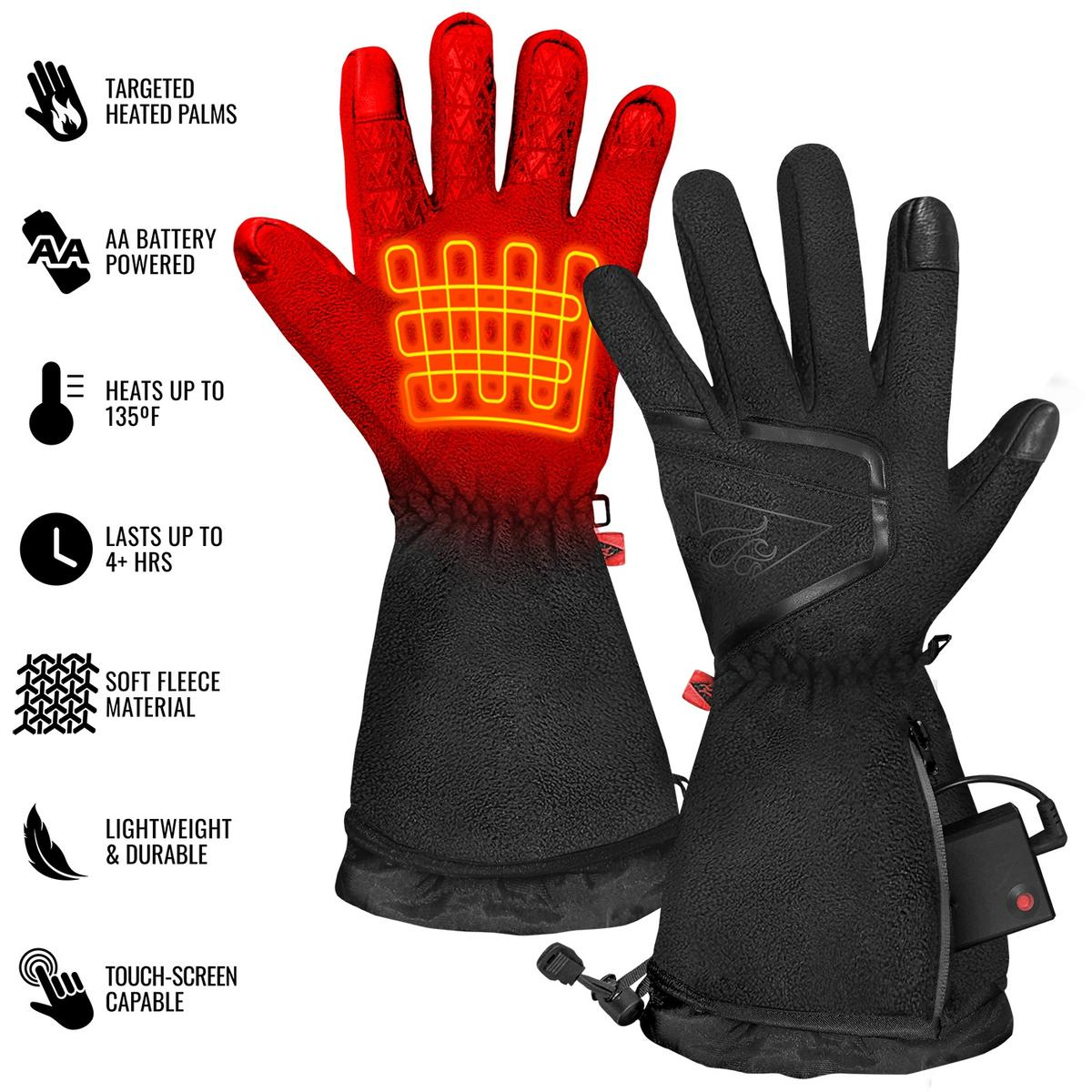 ActionHeat AA Men's Fleece Heated Gloves 2.0 - Full Set