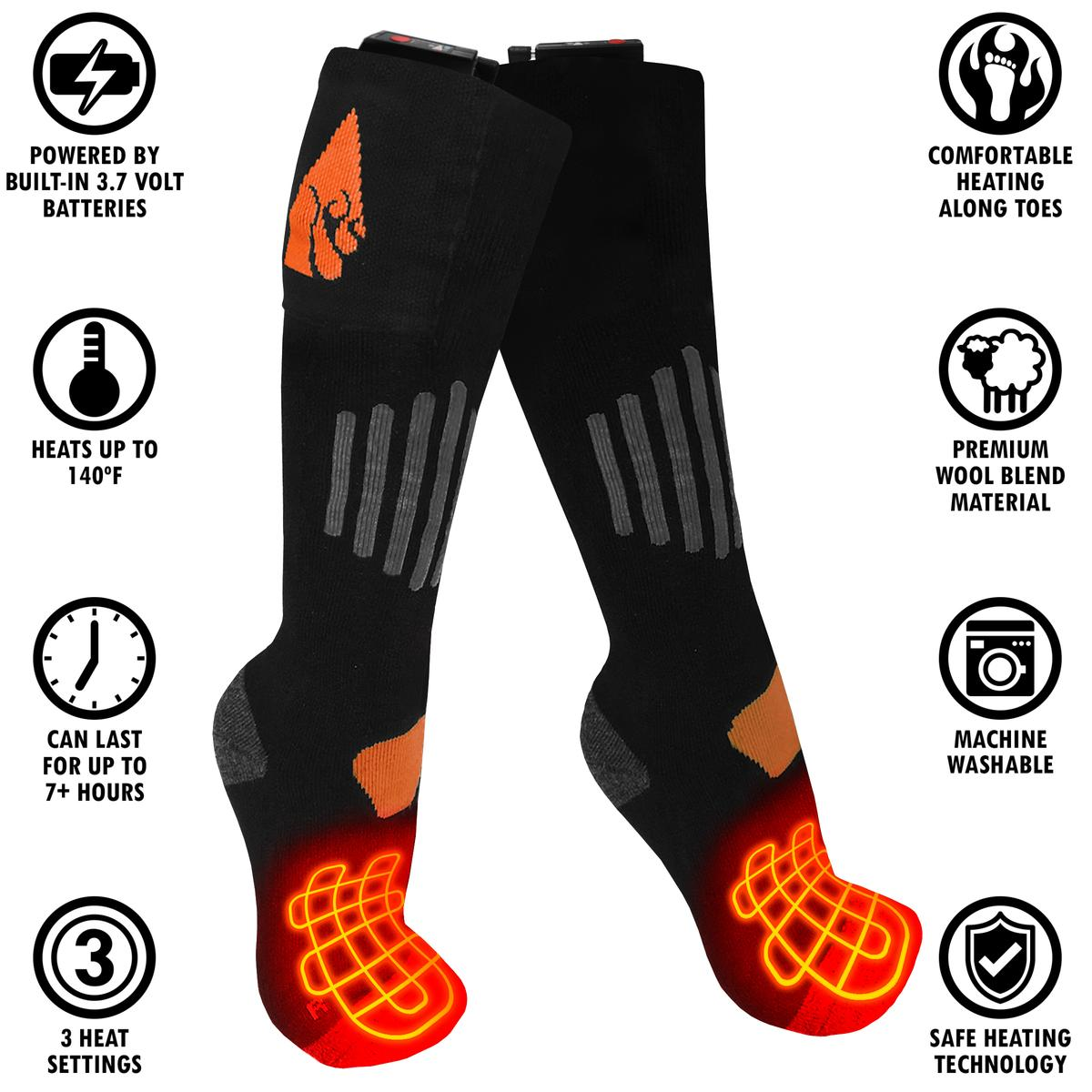 ActionHeat 3.7V Rechargeable Battery Heated Socks - Wool - Info